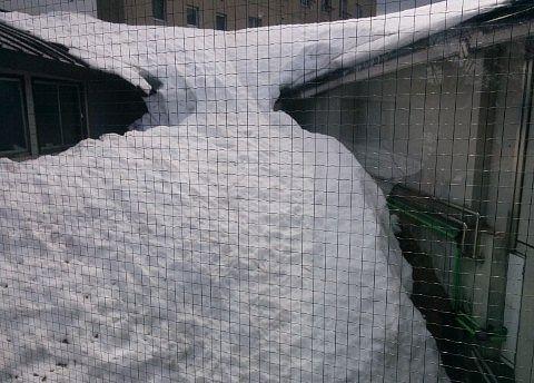 雪が氷河のように溶けてる光景