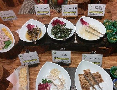 「肉と野菜のテリーヌ」「みずのこぶ」「わらび冷菜」「くらげと海水晶薬膳和え」