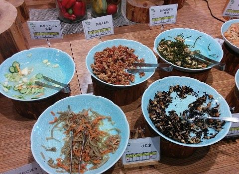 春キャベツの浅漬け、海老くるみ、刻み昆布の煮物、きんぴらごぼう、ひじき