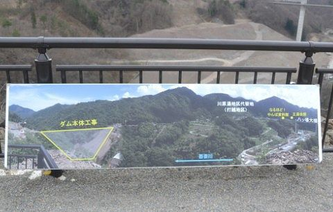 ダム工事の説明パネル