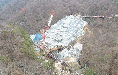 ダム建設中の現場と景色