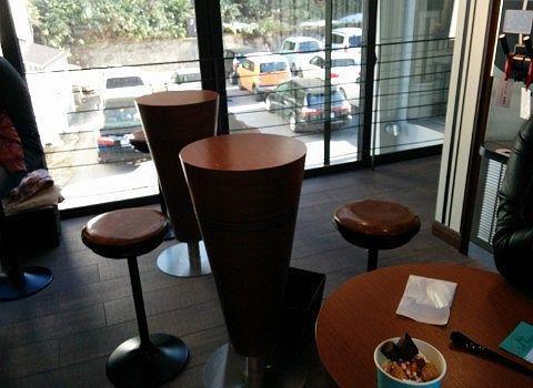 2階の店内のテーブルとイス