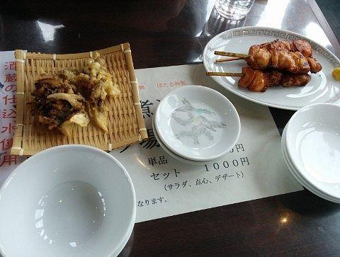 舞茸の天ぷらと焼き鳥