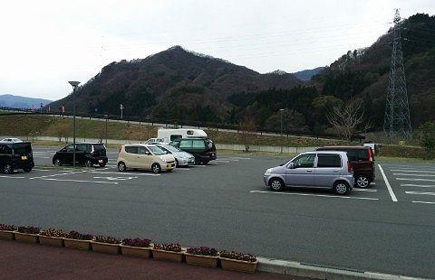 道の駅あがつま峡の駐車場の様子