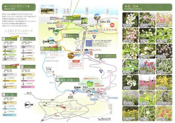 ハイキングマップと高山植物の花暦