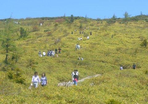 湯釜を見に登る観光客たち