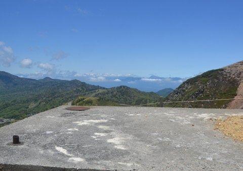 北アルプスなどの山々が見えた鑑賞エリア