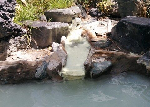露天風呂に注がれる源泉