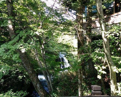 橋から見える竜頭の滝
