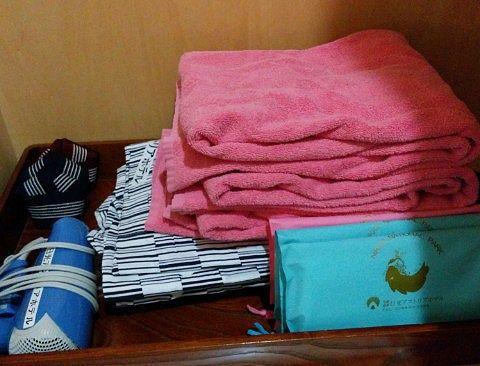 バスタオルや浴衣などのアメニティ類