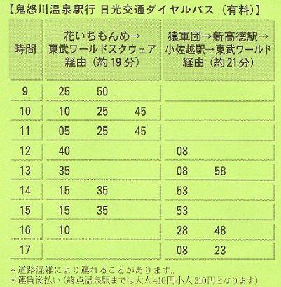 日光交通ダイヤルバス時刻表