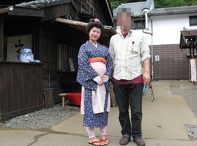 町娘の子と記念撮影
