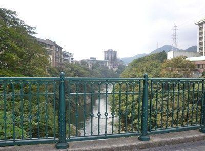 鬼怒川温泉ふれあい橋からの眺め