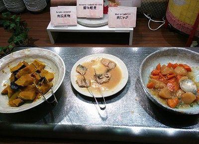 南瓜煮物、鯖も味噌煮、肉じゃが