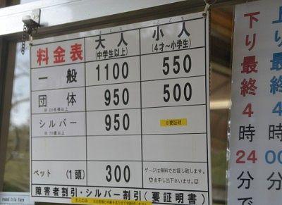 鬼怒川ロープウェイ料金表