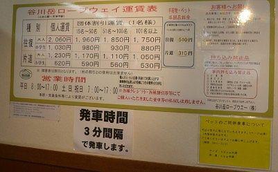 谷川岳ロープウェイ運賃表