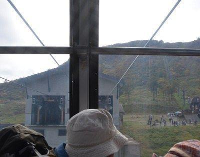 ゴンドラから見た天神平駅の様子