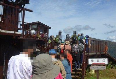 大混雑で行列のできてた観光リフト