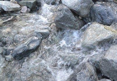 沢を流れる水の様子