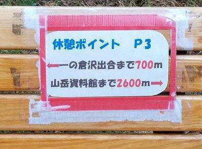 P3のベンチに貼られていた距離案内
