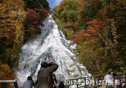 紅葉の湯滝の前で観瀑台から写真を撮る観光客